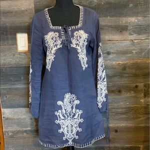 Molina Reno boho linen embroidered dress small blu